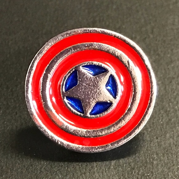 10fce39b8301 Jewelry   Captain America Silver Enamel Pin Brooch Tie Tack   Poshmark